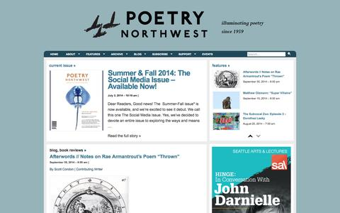Screenshot of Home Page poetrynw.org - Poetry Northwest | Illuminating poetry since 1959 - captured Oct. 2, 2014