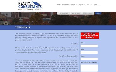 Screenshot of Testimonials Page rentrrc.com - Realty Consultants Testimonials - Property Management in Greensboro, Winston Salem, High Point, NC. - captured Oct. 18, 2018
