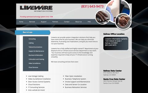 Screenshot of Services Page livewireis.com - Services | Livewire Information Systems - captured Nov. 11, 2018