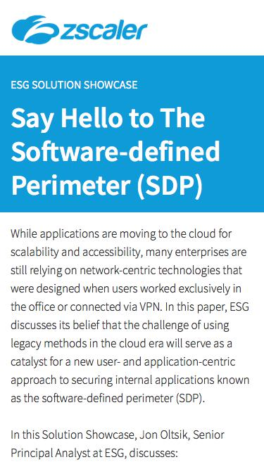 Say Hello to The Software-defined Perimeter   Zscaler
