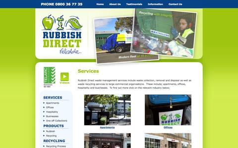 Screenshot of Services Page rubbishdirect.co.nz - Recycling services & waste management, collection and disposal in Auckland - Rubbish Direct - captured Oct. 7, 2014