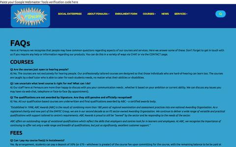 Screenshot of FAQ Page femaura.com - Femaura FAQ - Femaura - captured Sept. 30, 2014