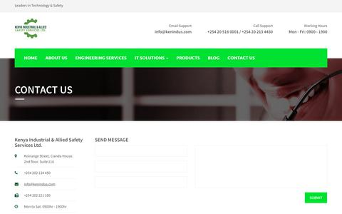 Screenshot of Contact Page kenindus.com - Kenya Industrial & Allied Safety Services - captured Oct. 17, 2017