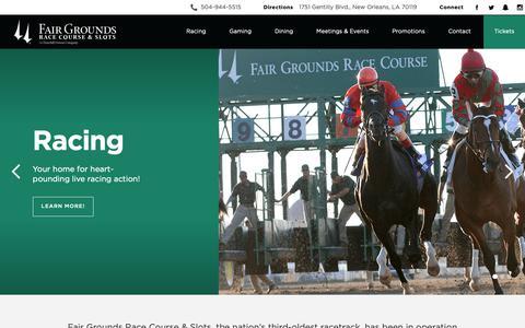 Screenshot of Home Page fairgroundsracecourse.com - Fair Grounds | New Orleans Race Course & Slots - captured Oct. 10, 2018