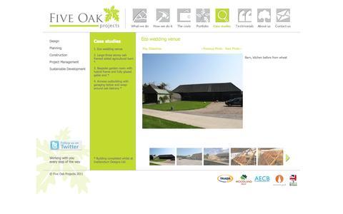 Screenshot of Case Studies Page fiveoakprojects.com - Five Oak Projects :: Case Studies - captured Sept. 30, 2014
