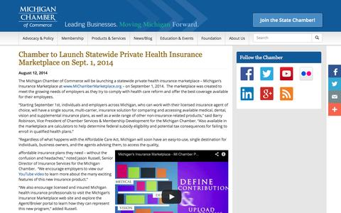 Screenshot of Services Page michamber.com - Chamber to Launch Statewide Private Health Insurance Marketplace on Sept. 1, 2014 | Michigan Chamber of Commerce - captured Oct. 27, 2014