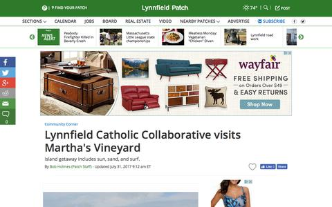 Screenshot of patch.com - Lynnfield Catholic Collaborative visits Martha's Vineyard - Lynnfield, MA Patch - captured July 31, 2017