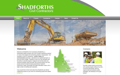 Screenshot of Home Page shadcivil.com.au - Shadforths Civil Contractors - Sunshine Coast Commercial Residential - captured Oct. 4, 2014