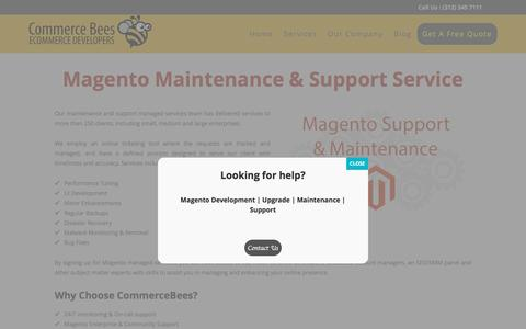 Screenshot of Support Page commercebees.com - Magento Store Maintenance & Support Services by CommerceBees - captured Jan. 15, 2017