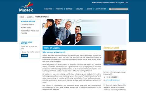 Screenshot of Jobs Page mastek.com - Mastek: Careers – Work @ Mastek - captured Oct. 2, 2016