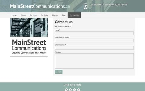 Screenshot of Contact Page mainstreetcommunications.ca - Contact Us | Main Street Communications - captured Nov. 19, 2016