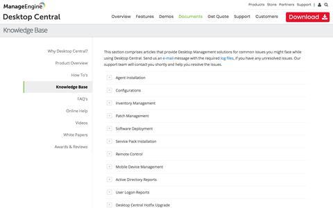 Desktop Central Knowledge Base | ManageEngine