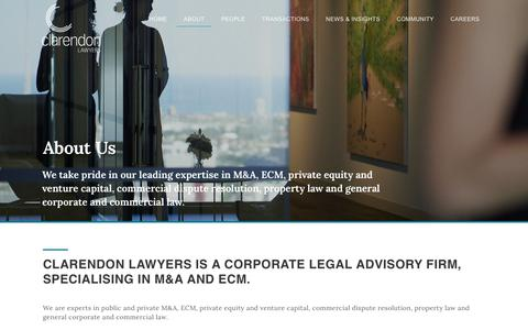 Screenshot of About Page clarendonlawyers.com.au - About | Clarendon Lawyers - captured July 18, 2018