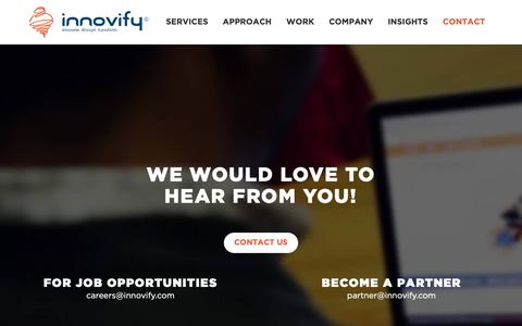 Screenshot of Contact Page innovify.com - Contact Us | Product Management Company - Innovify - captured Nov. 6, 2018