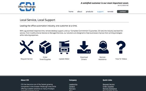 Screenshot of Support Page cdi-ot.com - Support   Pittsburgh   CDI Office Technologies - captured Sept. 25, 2018