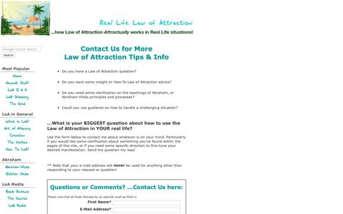 Screenshot of Contact Page real-life-law-of-attraction.com - Contact Real Life LoA with Law of Attraction questions... - captured Oct. 18, 2018