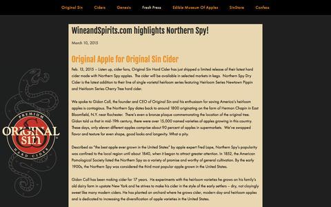 Screenshot of Press Page origsin.com - Original Sin Hard Cider / Blog — Original Sin Hard Cider - captured Feb. 17, 2016
