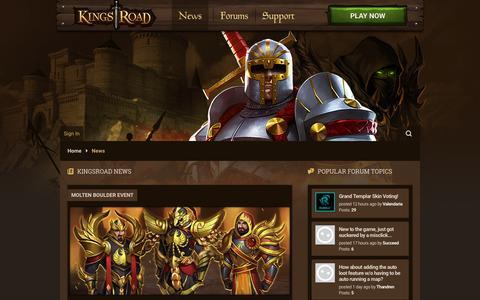 Screenshot of Press Page rumblegames.com - News - KingsRoad - captured Aug. 23, 2016