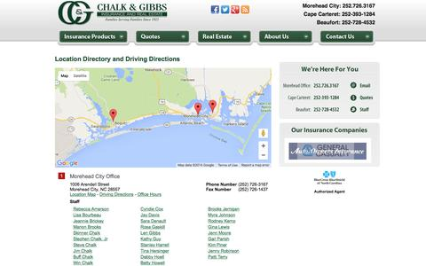 Screenshot of Locations Page chalkandgibbs.com - Chalk & Gibbs Insurance and Real Estate Locations and Driving Directions - captured Jan. 27, 2016