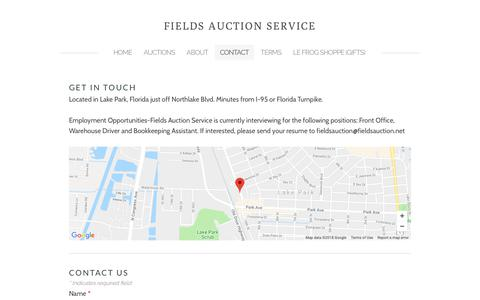 Screenshot of Contact Page fieldsauction.net - Contact - FIELDS AUCTION SERVICE - captured Oct. 10, 2018