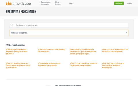 Screenshot of FAQ Page crowdcube.es - Crowdcube FAQ - Preguntas Frecuentes - captured March 18, 2017