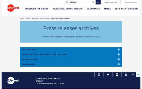 Screenshot of Press Page edenred.com - Press releases archives   Edenred - captured July 8, 2019