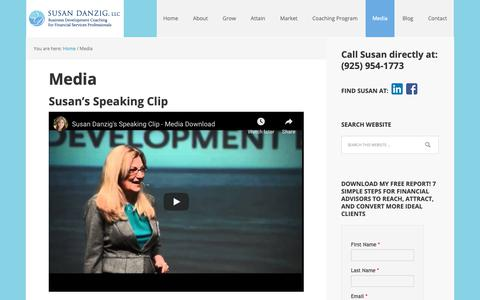 Screenshot of Press Page susandanzig.com - Media - Financial Advisor Coaching by Susan Danzig - captured Oct. 19, 2018