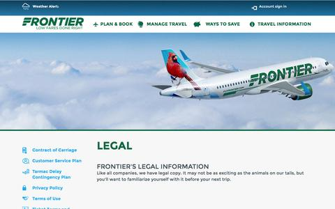 Screenshot of Terms Page flyfrontier.com - Legal | Frontier Airlines | Cheap Fares - captured Dec. 3, 2015