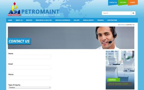 Screenshot of Contact Page petromaint.net - CONTACT US - Petromaint - Petromaint - captured Sept. 29, 2014