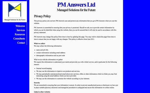 Screenshot of Privacy Page pm-answers.com - PM Answers Ltd - Privacy - captured Jan. 22, 2016