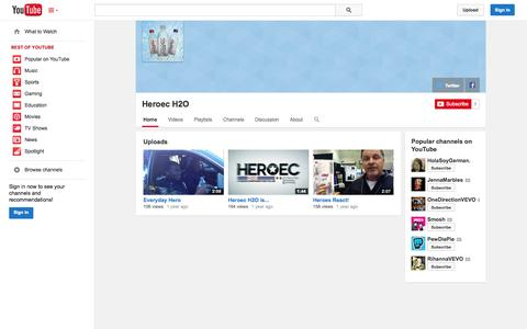 Screenshot of YouTube Page youtube.com - Heroec H2O  - YouTube - captured Oct. 22, 2014