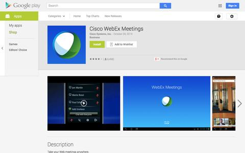 Screenshot of Android App Page google.com - Cisco WebEx Meetings - Android Apps on Google Play - captured Oct. 30, 2014