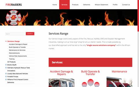Screenshot of Services Page fireraiders.co.za - Fire Raiders Services Range - captured Nov. 25, 2016