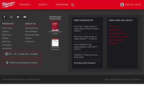 Screenshot of Products Page milwaukeetool.com - Power Tools, Hand Tools, Accessories, Storage and Apparel  | Milwaukee Tool - captured June 16, 2019