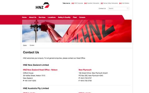 Screenshot of Contact Page hnzglobal.com - HNZ Global   Contact us for helicopter services in Australia, New Zealand, and Southeast Asia Helicopter operations - captured July 14, 2018