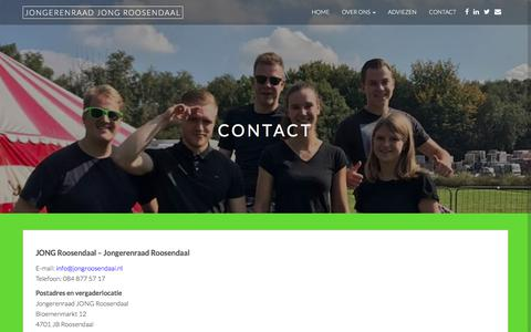 Screenshot of Contact Page jongroosendaal.nl - Contact – Jongerenraad JONG Roosendaal - captured Sept. 20, 2018