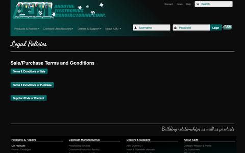 Screenshot of Terms Page aem-corp.com - AEM Standard Terms and Conditions of Purchase - captured Oct. 3, 2018