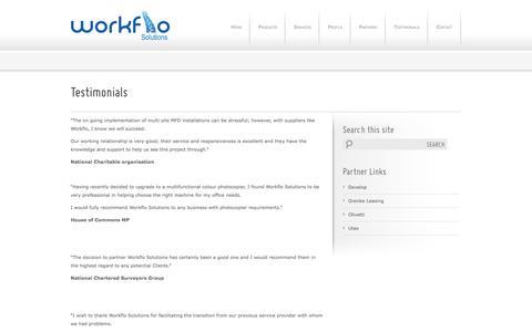 Screenshot of Testimonials Page workflo-solutions.co.uk - Testimonials   Workflo Solutions   Photocopy Company Edinburgh, Glasgow - Workflo Solutions - captured Oct. 7, 2014