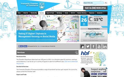 Screenshot of Services Page fremantlechamber.com.au - Services | Fremantle Chamber of Commerce - captured Sept. 26, 2014
