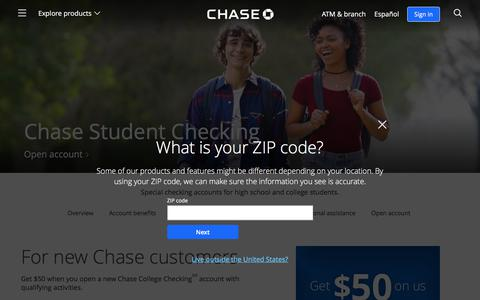 College Checking $50 Bonus | Student Banking | Chase.com