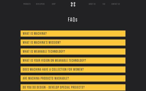 Screenshot of FAQ Page machina.cc - FAQ – Machina - Wearable Technology - captured Oct. 4, 2017