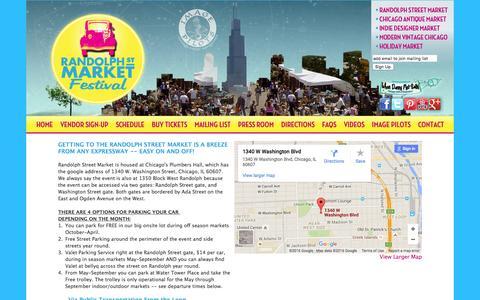 Screenshot of Maps & Directions Page randolphstreetmarket.com - Randolph Street Market ~ Chicago Antique Market ~ Indie Designer Market ~ Modern Vintage Chicago ~ Fashion, Jewelry, Flea Market, Antique Shows - captured June 12, 2016