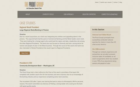 Screenshot of Case Studies Page proutgroup.com - Case Studies - The Prout Group - captured Oct. 6, 2014