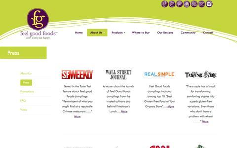 Screenshot of Press Page feel-good-foods.com - Press - Feel Good Foods - captured Sept. 25, 2014