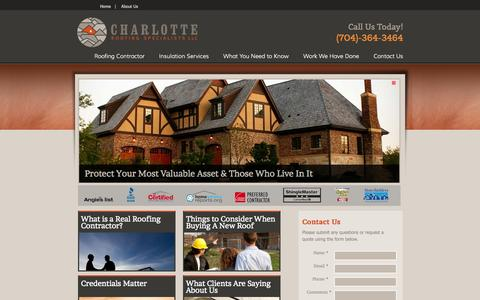 Screenshot of Home Page charlotteroofing.com - Charlotte Roofing Specialists - Experienced Charlotte Roofers - captured Oct. 2, 2014