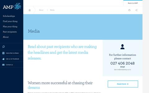 Screenshot of Press Page amp.co.nz - Media - Scholarships Media And Contacts | AMP - captured May 14, 2016