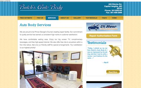 Screenshot of Services Page butchsautobody.com - Auto Body Shop Upper Marlboro, Bowie, Walker Mill, Forestville, Capital Heights MD  | Butchs Auto Body - captured Nov. 23, 2016