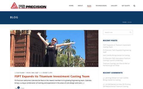 Screenshot of Blog fs-precision.com - titanium casting-titanium-alloy-investment casting-titanium investment casting - captured Nov. 24, 2016