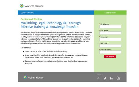 Screenshot of Landing Page datacert.com - Webinar: Maximizing Legal Technology ROI through Effective Training & Knowledge Transfer - captured Aug. 17, 2016