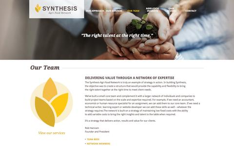 Screenshot of Team Page synthesis-network.com - Our Team | Synthesis Agri-Food Network - captured Oct. 6, 2014